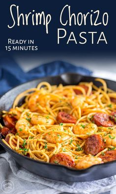 I love quick pasta recipes and this Shrimp Chorizo pasta doesn't disappoint. The shrimp, chorizo and garlic are cooked together to give a smoky, sweet spicy tang to the simple sauce. Plus the recipe i Cooked Prawn Recipes, Cajun Shrimp Recipes, Chorizo Recipes, Seafood Recipes, Cooking Recipes, Panchetta Recipes, Seafood Meals, Seafood Pasta, Shrimp And Sausage Pasta