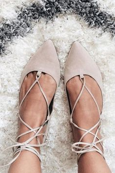 Add edge to simple flats with this pointed leather-look pair. Comes with ghillie lace-up tie the ultimate wardrobe necessity. Man made Suede. Spot clean only. Color: Beige