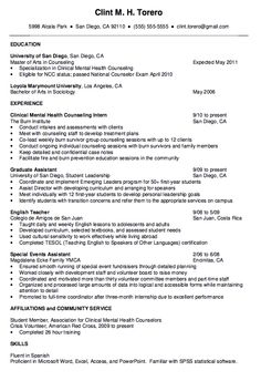 this examples mental health counselor resume we will give you a refence start on building resume you can optimized this example resume on creating resume - Counseling Resume Sample