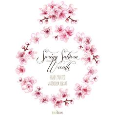 Sakura Wreath and Bouquet. Spring blossom. Hand Painted Watercolor Clipart.wedding, spring floral, invitations, greetings, bloom, romantic