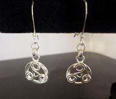 Triskel Coin Dangle Earrings, Handmade, Solid .925 Sterling Silver     #Handmade #DropDangle