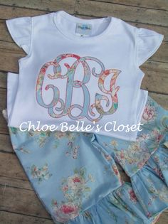 Floral Monogram  and Ruffle Capri or Pant Set sizes by juliesonny, $40.00