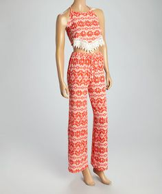 Loving this Coral Geometric Halter Top & Palazzo Pants on #zulily! #zulilyfinds