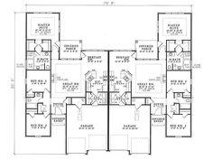 This splendid traditional duplex (Multi-Family House Plan has 1379 sq ft of living space per unit. The plan includes 3 bedrooms per unit. The Plan, How To Plan, Duplex Floor Plans, House Floor Plans, Family House Plans, Dream House Plans, Duplex Design, House Design, Bordeaux