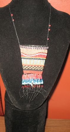 Amulet pouch necklace - waxed linen, beads...tapestry style.
