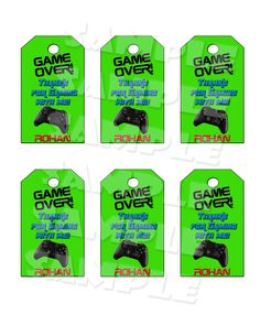 Printable Video Game Party Favor Tags (Digital File Only) Xbox Party, Game Truck Party, Party Games, 10th Birthday Parties, Birthday Games, Birthday Party Favors, 8th Birthday, Birthday Ideas, Ps4