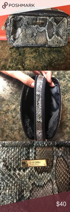Cle de peau cosmetic pouch Faux snakeskin pouch for all your beauty essentials by luxe brand Cle de Peau. This was a Gwp when I ordered my makeup. I have never used this bag. Pristine condition. Makeup Brushes & Tools