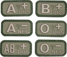 Viper Blood Group Patches - Green Rubber patches with Velcro backing 50 x 25mm