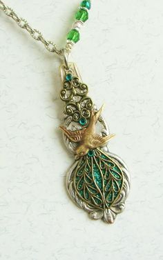 Vintage Spoon Necklace Spoon Pendant Antique by SpoonfestJewelry, $32.00