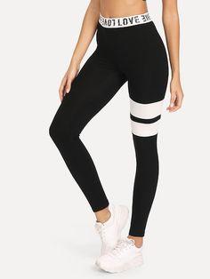 ab0d844d58 SHEIN Letter Print Wide Waist Cut And Sew Leggings #leggings #legging  #shein #