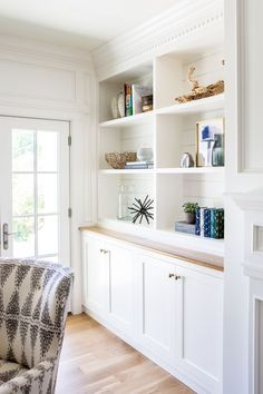 The paneling, the trim at the top, the shiplap behind the shelves. French doors and built-ins || Studio McGee