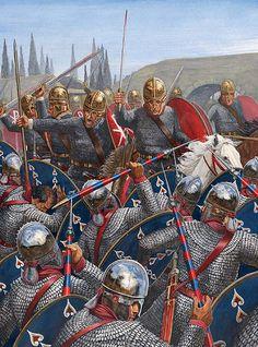 I pretoriani di Massenzio affrontano la carica della cavalleria di Costantino, Battaglia di Ponte Milvio, 312 AC