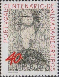 Centenário do Nascimento de Almada Negreiros de 1993, com o seu auto-retrato. SFAAC
