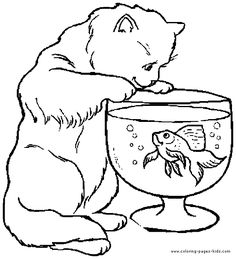 Cat And The Fish Bowl Coloring Pages For Teens Adults