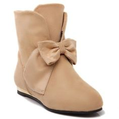 $27.65 Cute Suede and Bowknot Design Women's Short Boots