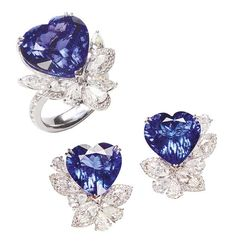 Heart-shaped tanzanite earrings and ring adorned with fancy-cut diamonds
