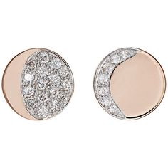 Pamela Love Fine Jewelry Women's Moon Phase Studs ($1,200) ❤ liked on Polyvore featuring jewelry, earrings, accessories, no color, earring jewelry, pave jewelry, pamela love earrings, 18 karat gold earrings and sparkly earrings