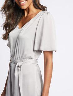 Satin Asymmetric Tunic Maxi Dress -m&s Satin Dresses, Lingerie Set, Body Shapes, Formal Wear, Dress Making, Wrap Dress, Women Wear, Tunic, Shirt Dress