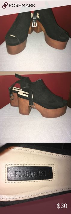 "FOREVER 21 Wooden Flatform Wedges The black part is velvet material • In great condition • Worn once • 3 1/2"" heel Forever 21 Shoes Platforms"