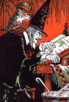 Vintage Halloween witch illustration.