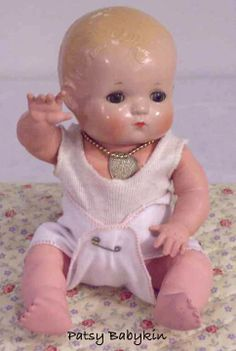 This Patsy Baby has a rubber body. Effanbee made some in 1934 but most of them didn't last. The body on this little guy is a replaced body, so his hadn't survived, either. Effanbee Dolls, Realistic Baby Dolls, Ann Doll, Plastic Doll, Dream Doll, Vintage Paper Dolls, Creepy Dolls, Old Dolls, Doll Parts