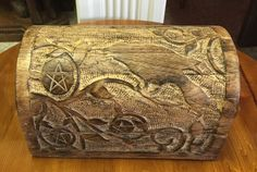 Wooden box with crow design available at Charmed in Lynchburg, Va (434) 610-9124