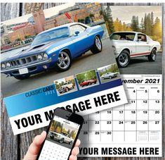 2021 Classic Cars Promo Wall Calendars with your Business Name, Logo & Ad Message - low as Advertise in the homes and offices of people in your area all year! Calendar Themes, Calendar App, Print Calendar, Promotional Calendars, Date Squares, Business Calendar, Wall Calendars, Us Holidays, Post Ad