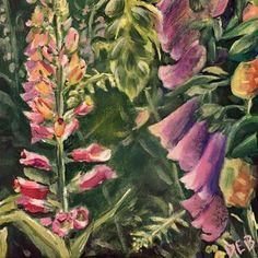 "Daily Paintworks - ""Foxgloves in Rose Garden"" - Original Fine Art for Sale - © Debbie Yacenda"