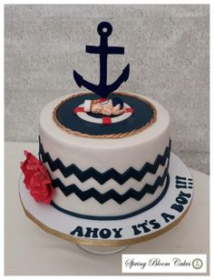 Sailor baby shower cake. FREIDA THIS IS THE STYLE JUST ONE TIER PLUS CUPCAKES TO FEED 50 is that possible?