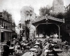 At the Moulin Rouge, the elephant served as a luxurious opium den where for a single franc, gentlemen could enter by way of a spiral staircase inside the leg and be entertained by belly dancers.