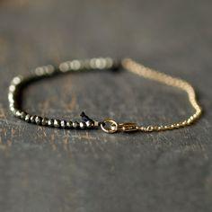 Pyrite Fool's Gold Bracelet Delicate Gemstone Sparkle Goldfill Handmade Jewelry