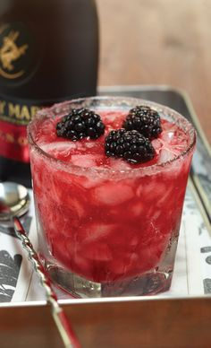 Blackberry Sidecar: Remy Martin Vsop Cognac, Cointreau, Freshly Squeezed Lemon Juice, Muddled Blackberries, Dash Of Plum Bitters, Topped With Plump Blackberries, Sugar Rim