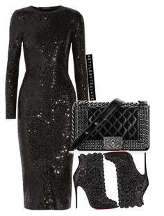 """""""Untitled #2220"""" by stylebyteajaye ❤ liked on Polyvore featuring Donna Karan, Chanel and Christian Louboutin"""