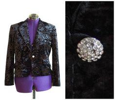 Black crushed velvet jacket with rhinestone button by TimeTravelFashions on Etsy