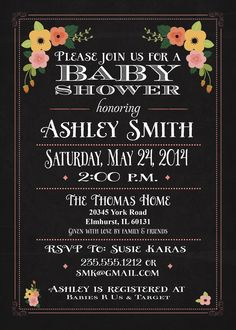 Baby Shower Invitation and personalized sign, Chalkboard Coral, Pink, Flowers
