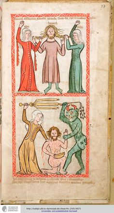 Disturbing imagery, excellent 14th c fashion- Hs 2505 Speculum humanae salvationis Westfalen od. Köln, um 1360  37r (PDF, 37 MB) Startseite des Bandes Handschriften
