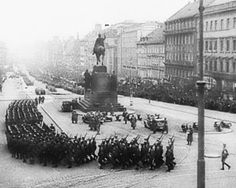 Nazi soldiers marching in Wenceslas Square, Prague 1938
