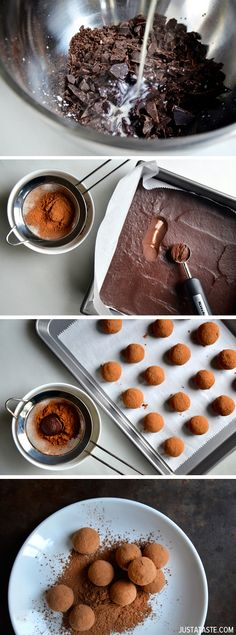 Chocolate Truffles #7 ounces (66 to 72%) chocolate, finely chopped 2/3 cup heavy cream 1 Tablespoon honey 2 Tablespoons salted butter, at room temperature 2 to 3 Tablespoons unsweetened cocoa powder