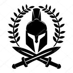 Casco espartano y espadas cruzadas sobre un fondo blanco