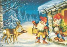 "Two elves and two deers - Artist Lars Carlsson "" Christmas Card Crafts, Christmas Clipart, Christmas Art, Vintage Christmas, Illustration Noel, Christmas Illustration, Vintage Postcards, Vintage Images, Christmas Knomes"