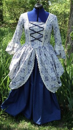 Colonial Revolutionary War reenacting day dress with coordinates and side  bustles damask calico cotton old 76708a58939f