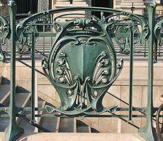 Paris Metro Hector Guimard cast iron railing