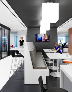 Open office, office fit out, office lounge, cool office, office break roo. Office Break Room, Office Lounge, Office Workspace, Office Fit Out, Open Office, Cool Office, Office Space Design, Office Interior Design, Corporate Interiors