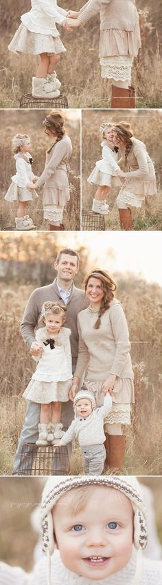 Posing Ideas for Family of Four.  Photography Session for Family.    Beautiful family session by Jennie Cruger Photography! Love the family's outfits!