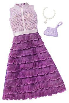 Barbie Fashions Complete Look - Purple Dress Barbie Doll Set, Doll Clothes Barbie, Barbie Toys, Barbie Dress, Barbie Outfits, Accessoires Barbie, Barbie Playsets, Barbie Doll Accessories, Barbie Fashionista