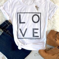 "Love what you wear! This cute and incredibly soft Christian tee is the kind of shirt a girl buys two of—you'll love it that much. Featuring the words ""LOVE 1 Corinthians 13:4-7,"" this beautiful women's t-shirt has been expertly designed to not rub off, fade, or peel and comes in"