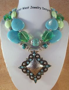 Western Rodeo Cowgirl Necklace Set - Chunky Soft Aqua and Lime Green Turquoise with Crystal - Concho Pendant - pinned by pin4etsy.com