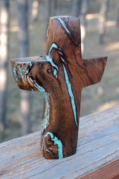 8 x 6 hoch Breite Walnuss stehende Kreuz mit Türkis Inlay