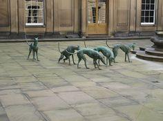"""Greyhounds""  Bronze Sculpture By Nicola Hicks in Chatsworth Gardens (England)"