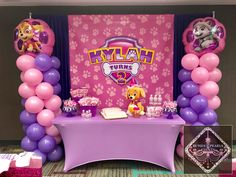 Paw Patrol Skye Pink Birthday Printable Backdrop 7ft x 5ft Digital File Download